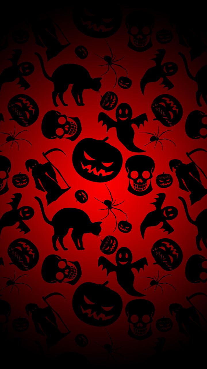 Free Download Dark Halloween Pattern Mobile Wallpaper 20567