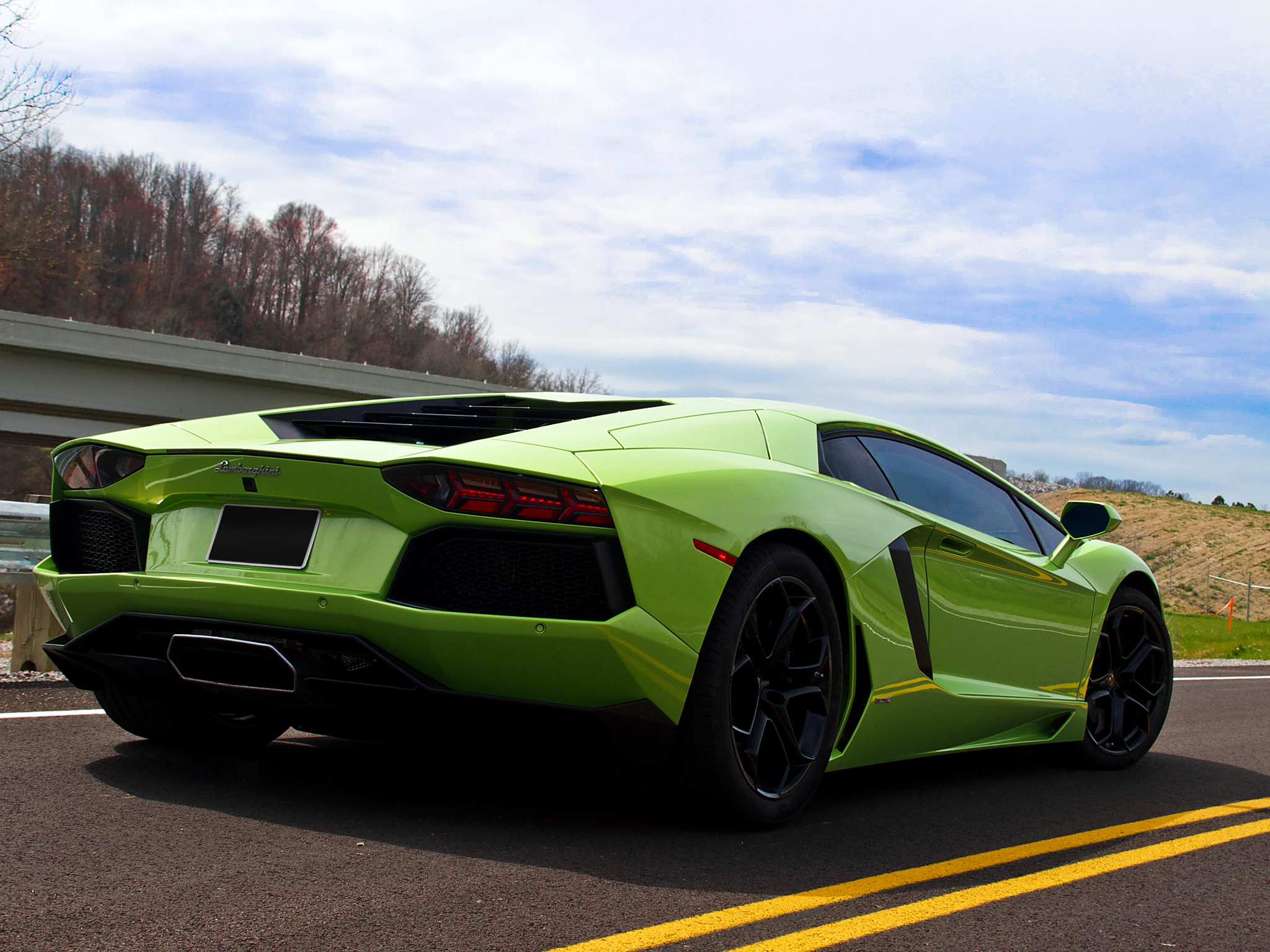 Wallpapers lamborghini aventador lp700 4 aventador road sky tail 2048x1536