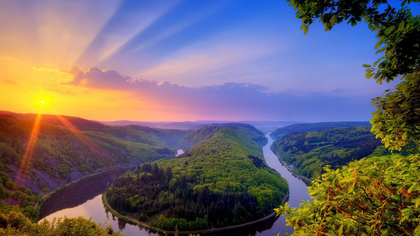 Wonderful nature landscape   mountain river 1366x768