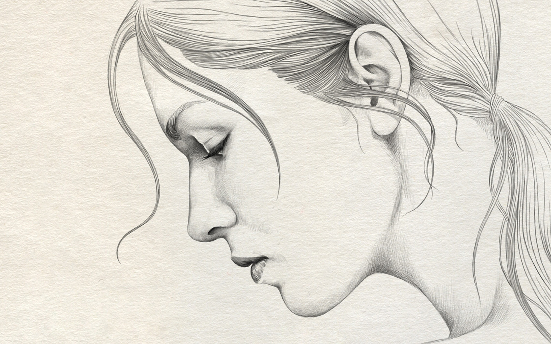 Pencil drawing girl face 1920x1201