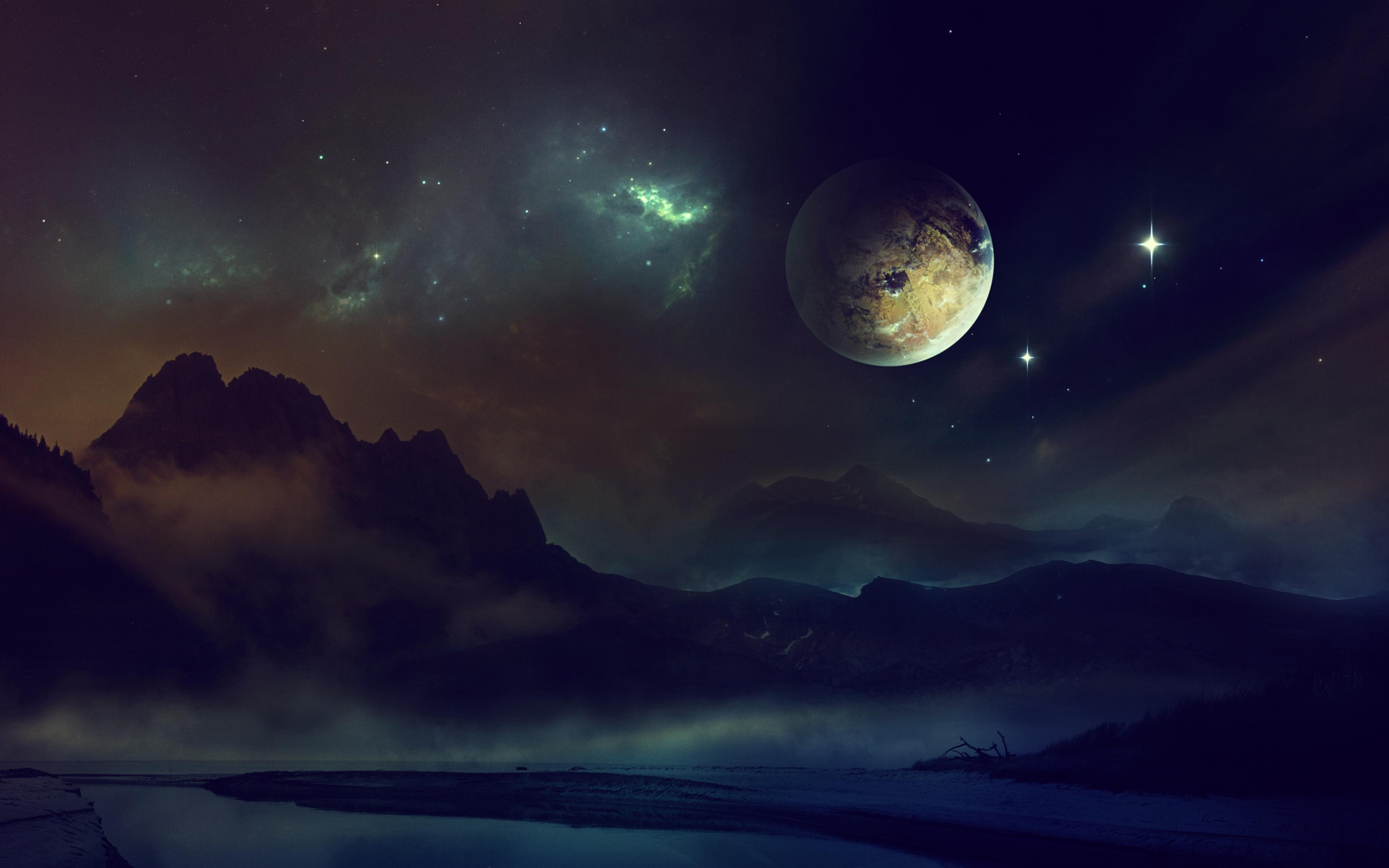 3840x2400 Wallpaper space planet light night sky 3840x2400
