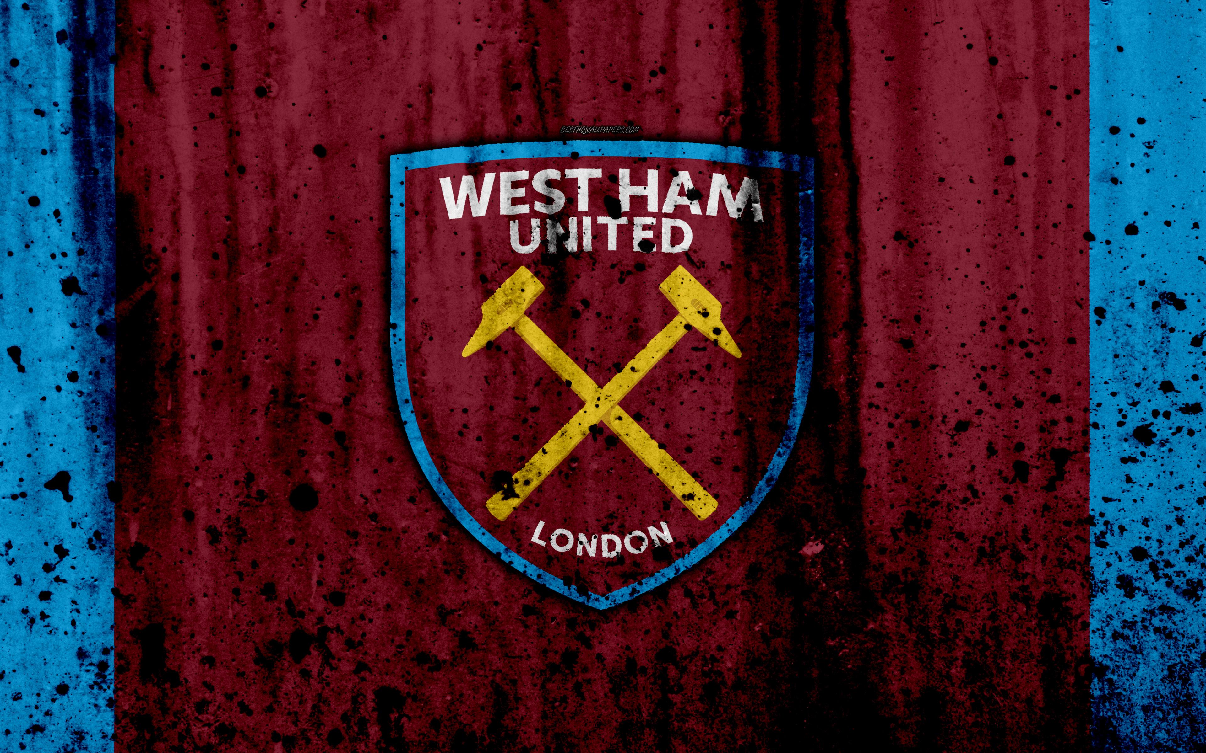 Download wallpapers FC West Ham United 4k Premier League logo 3840x2400