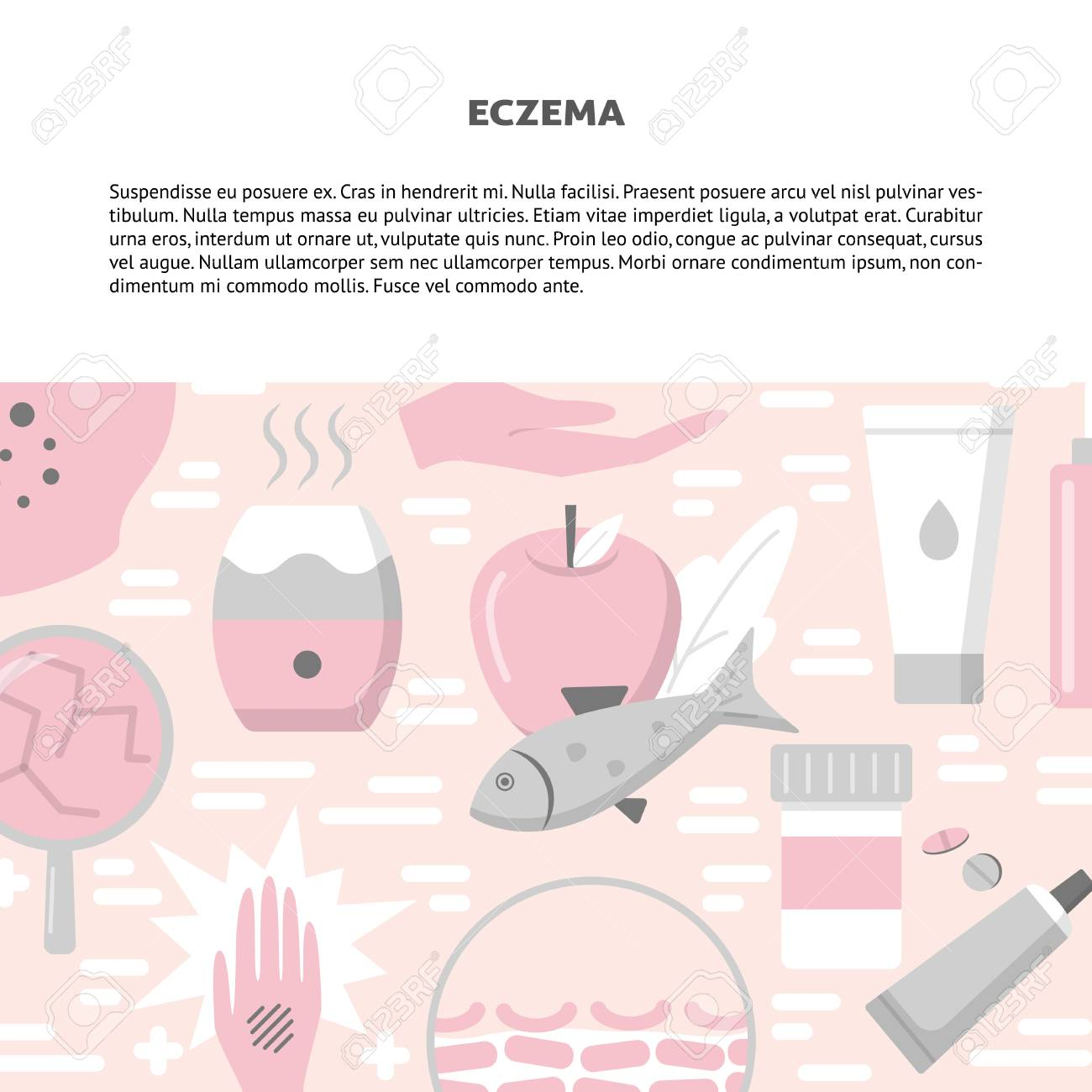 Eczema Symptoms And Treatment Concept Background In Flat Style 1300x1300