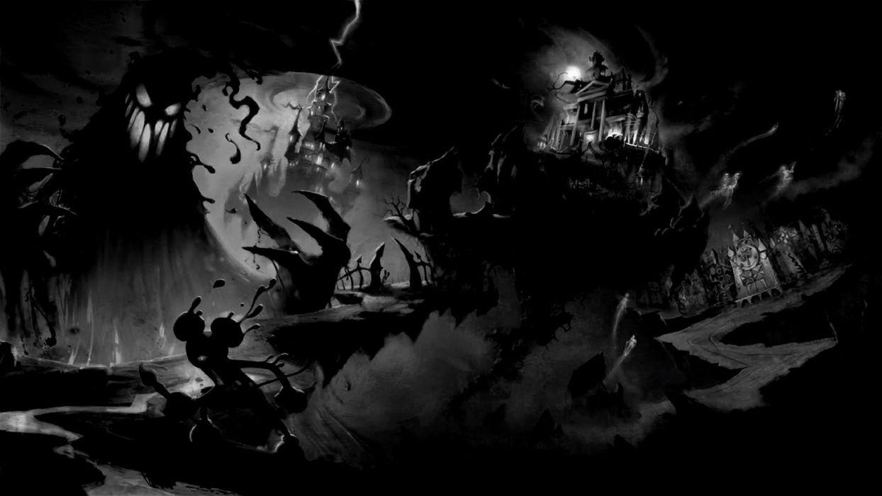 Disney mickey mouse horror halloween haunted wallpaper 1920x1080 1244x700