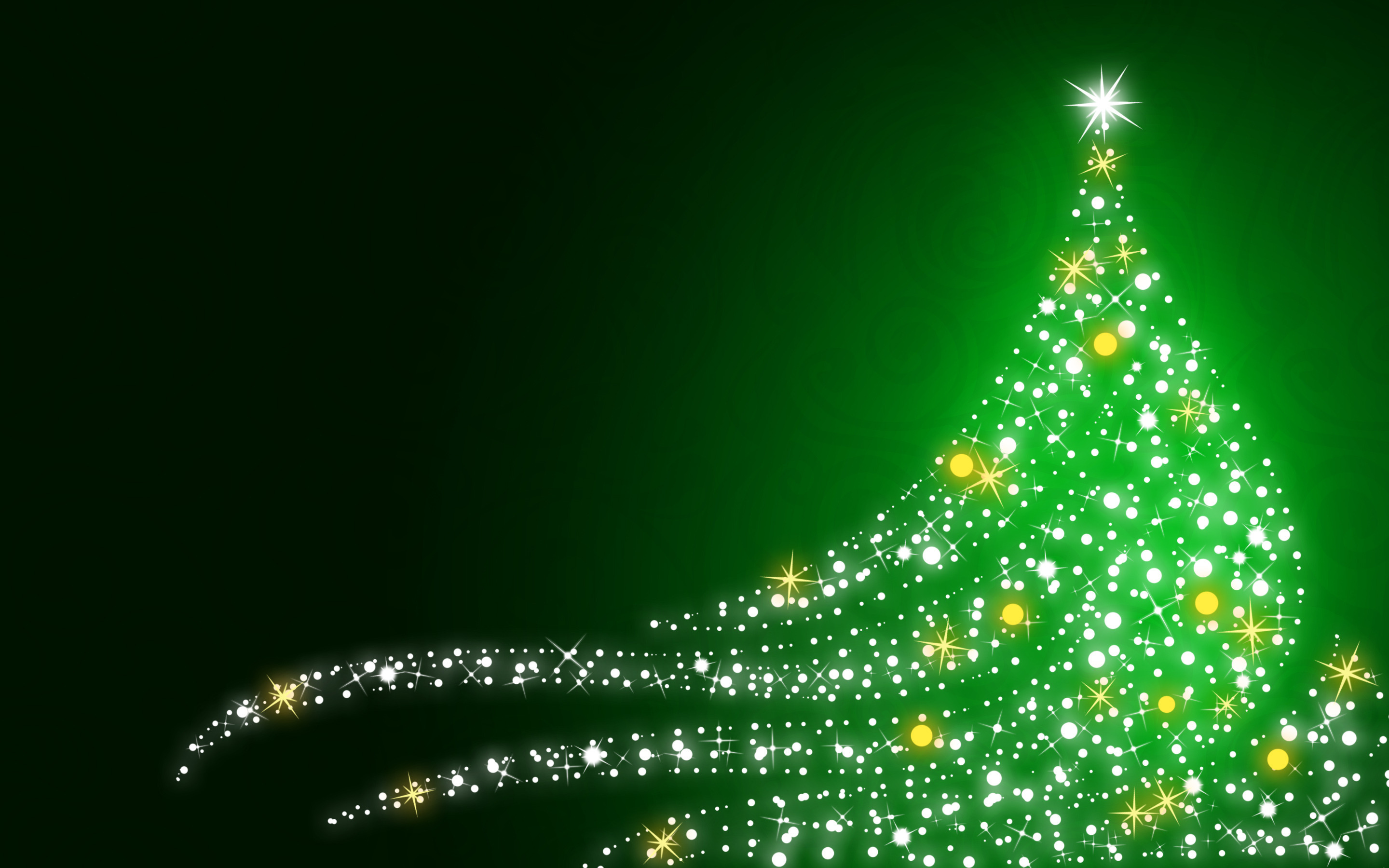 Shimmering Christmas tree on Christmas green background wallpapers 2880x1800