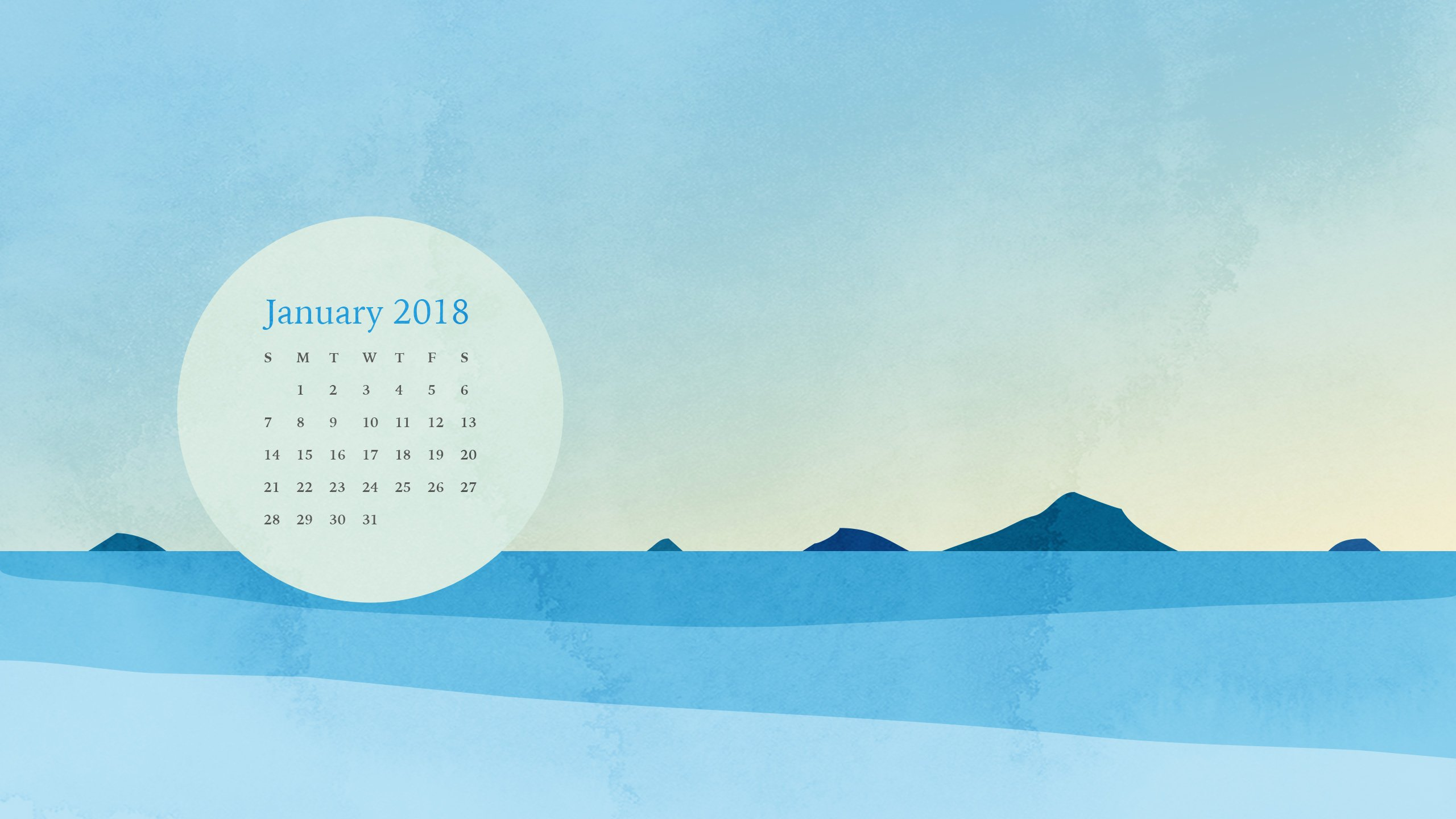 Desktop Calendar and Smartphone Background for January 2018 Eve Sand 2560x1440