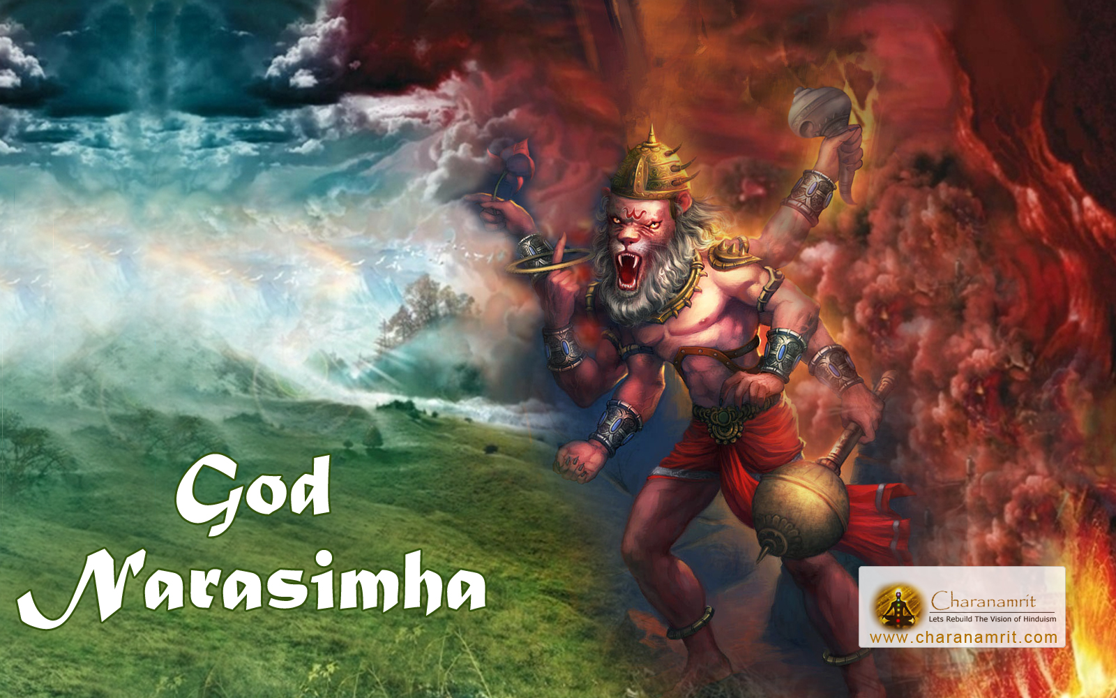 God Narsingh angry colorful 3D HD Wallpaper for download width 1600x1000