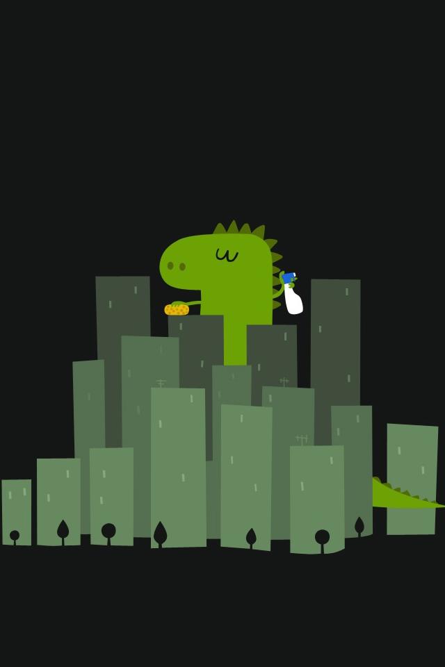 Cute Dinosaur Wandering In City iPhone 4s Wallpaper Download iPhone 640x960