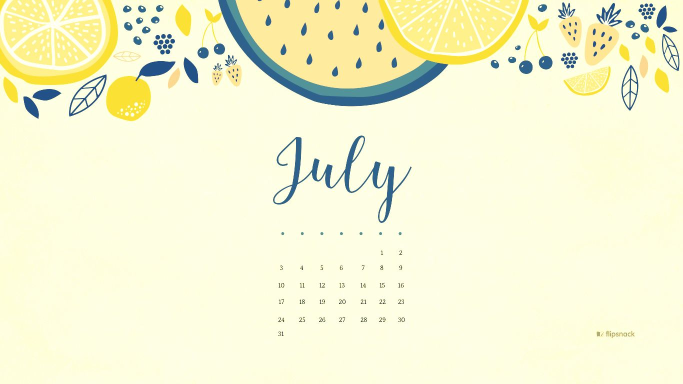 July 2018 Calendar Desktop Wallpaper 2018 Calendars Calendar 1366x768