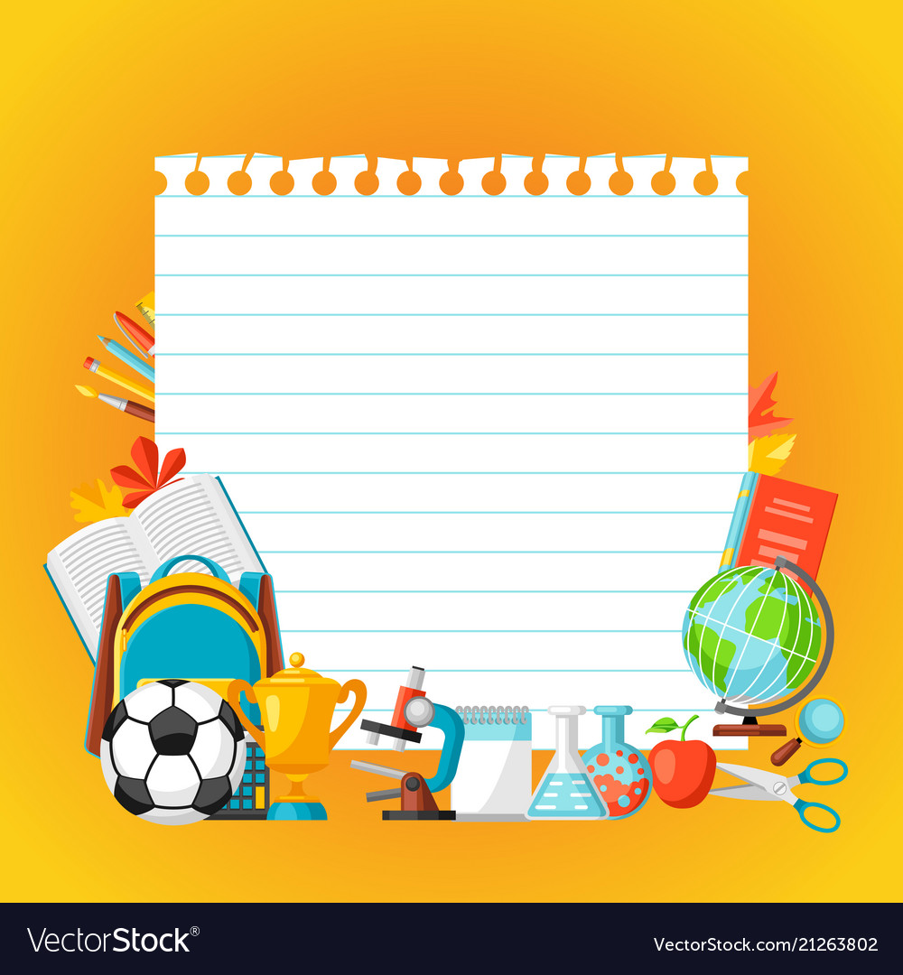 School background with education items Royalty Vector 1000x1080