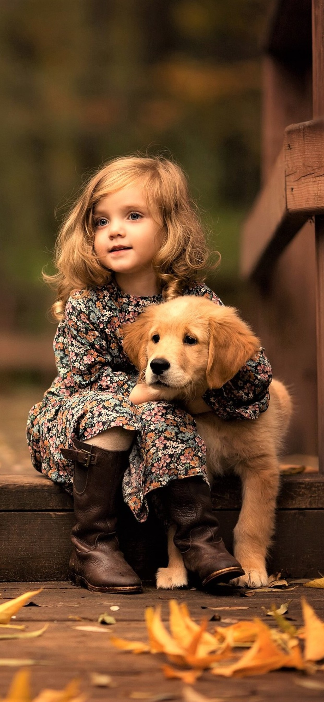 Little Girl With Golden Retriever Puppy Wallpaper 1242x2688