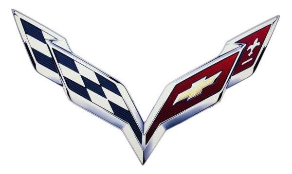 C7 Corvette Logo Corvette c7 2014 metal logo 600x358