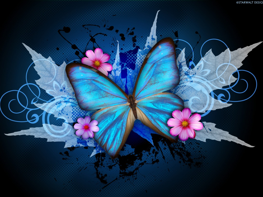 Blue Butterfly Abstract Wallpaper 11007 Wallpaper Cool 1024x768