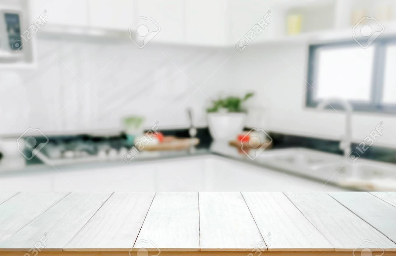 Free download Wood Table Top On Blurred Kitchen Background Stock ...