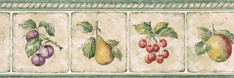 Details about KITCHEN TILES FRUITS PEAR CHERRIES Wallpaper Border 770x257