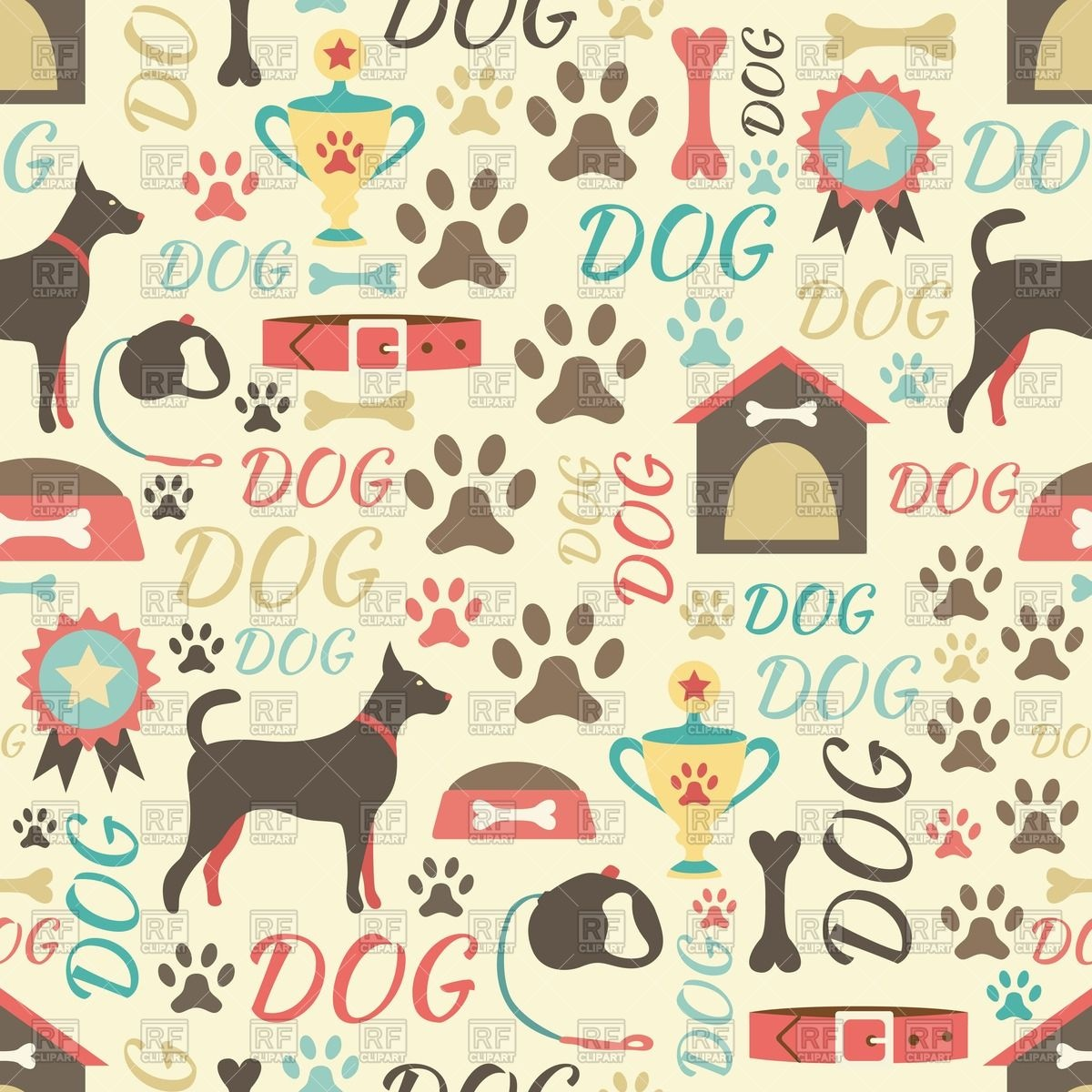 retro style background with dog doghouse dog collars paw prints 1200x1200