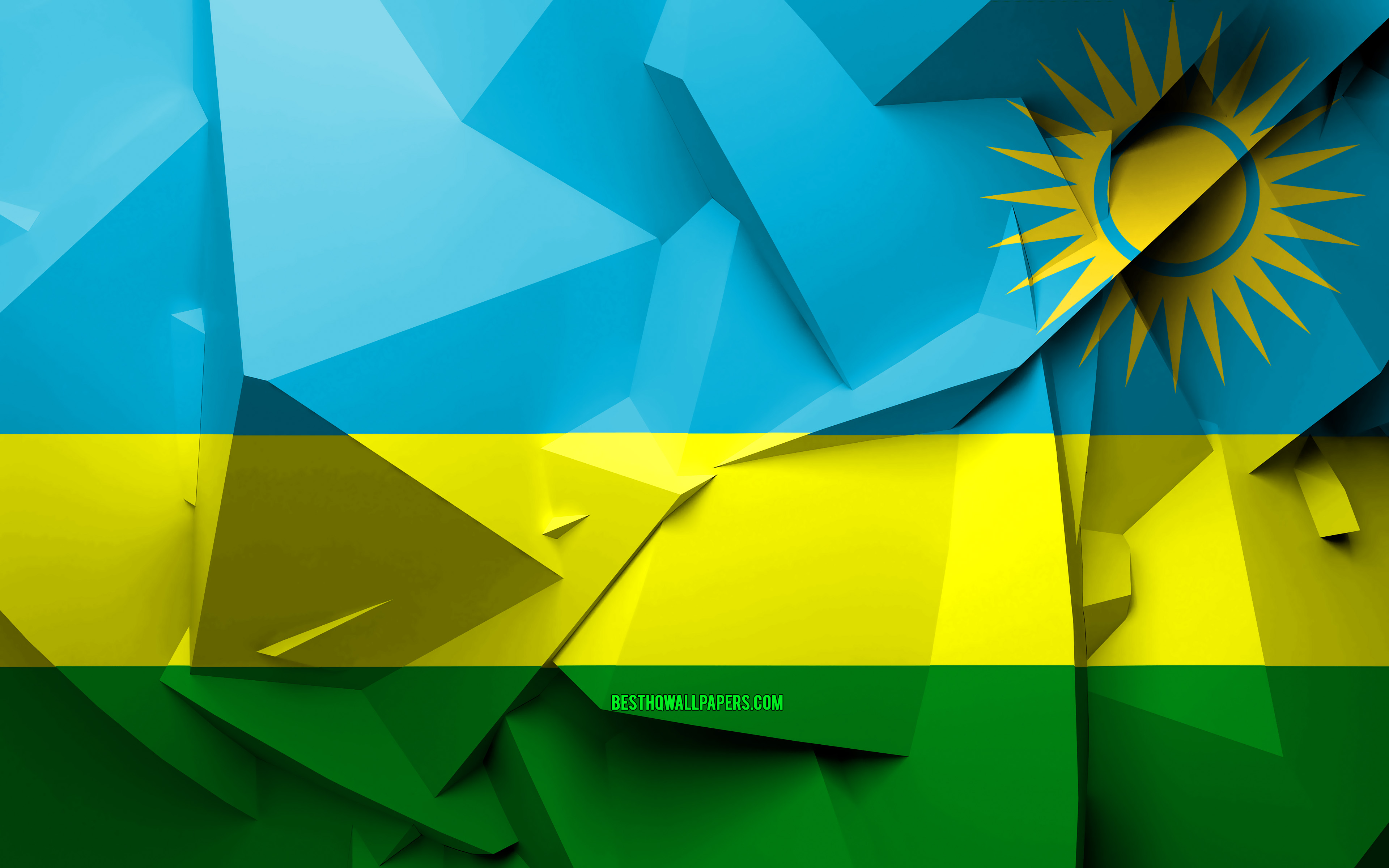 Download wallpapers 4k Flag of Rwanda geometric art African 3840x2400