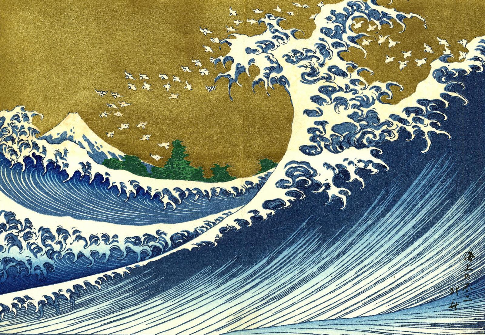 Hokusai Katsushika Wallpaper The Great Wave at Kanagawa Wallpaper 1600x1104