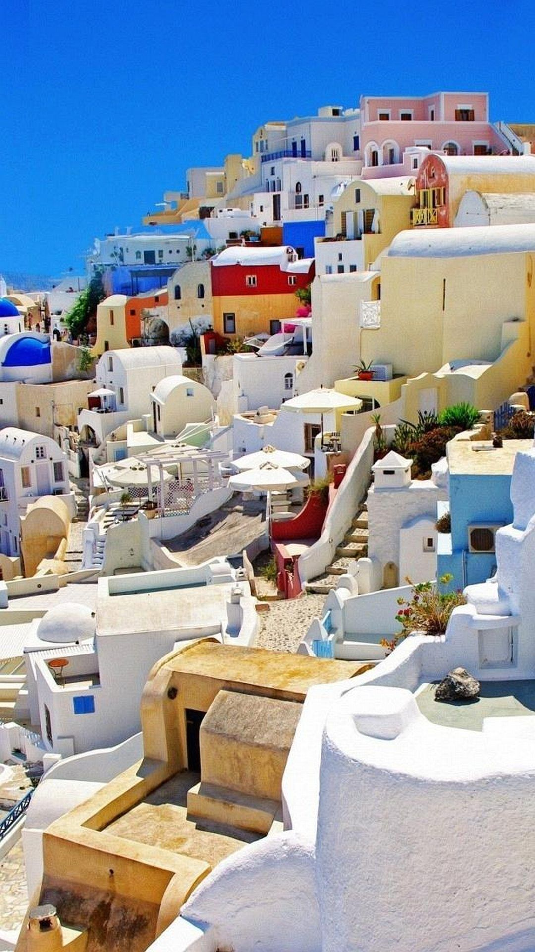 Santorini Greece Colorful Houses Android Wallpaper WALLPAPER 1080x1920