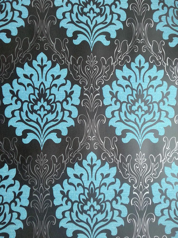 teal blue black silver damask