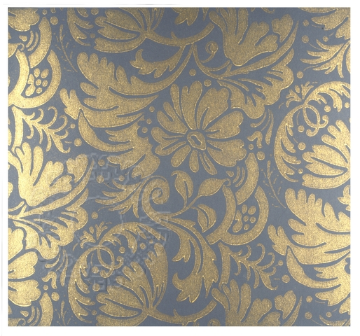 Flock wallpaper pattern in blue and gold Retrograph 514x480
