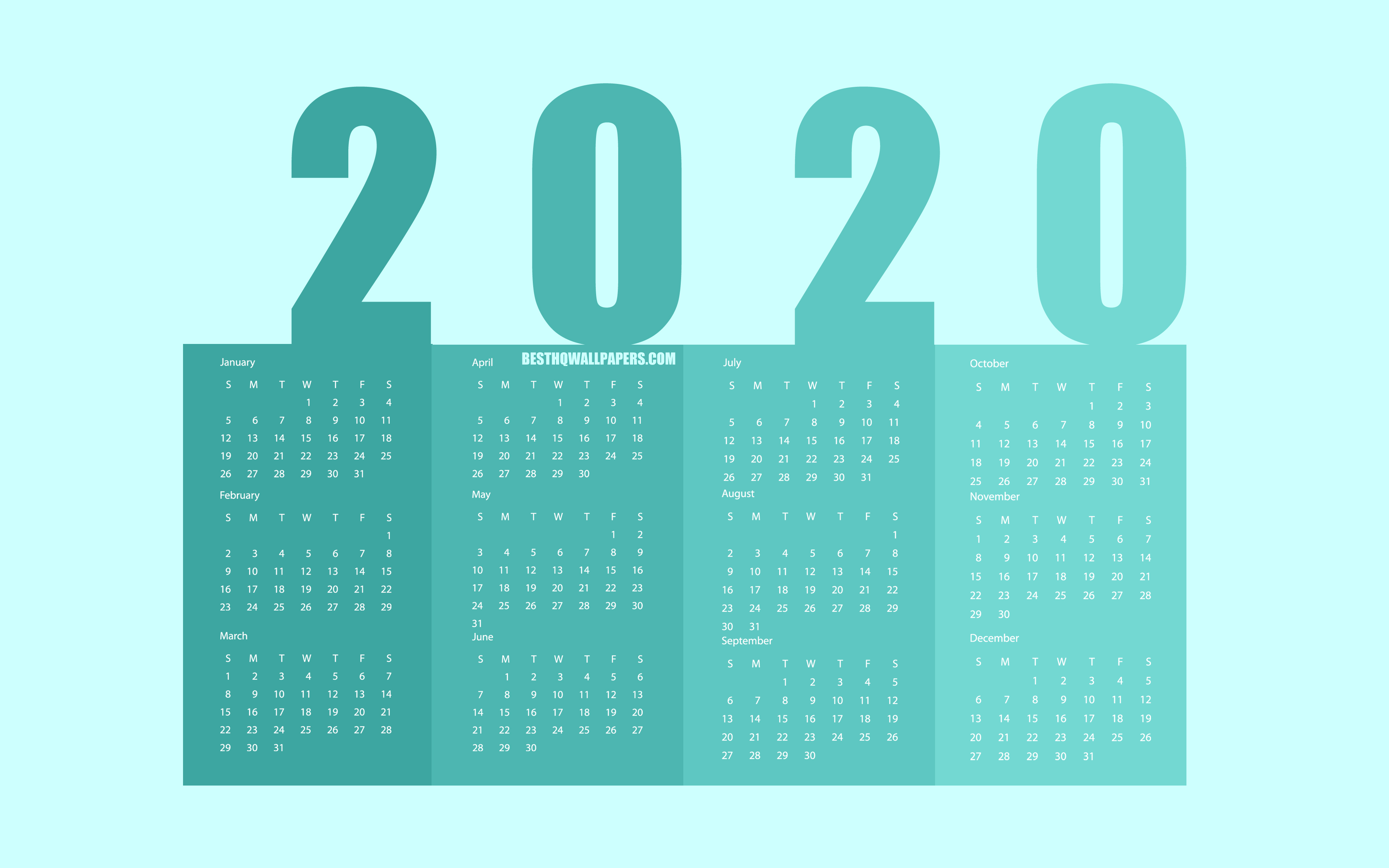 Download wallpapers Turquoise 2020 Paper Calendar all months 3840x2400