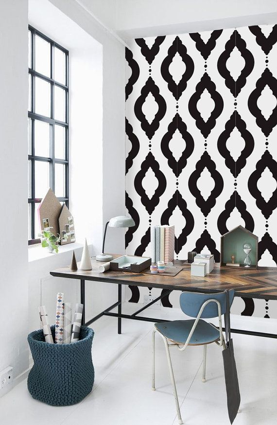 Damask Geometric Pattern Self Adhesive Vinyl Wallpaper by Livettes 570x874