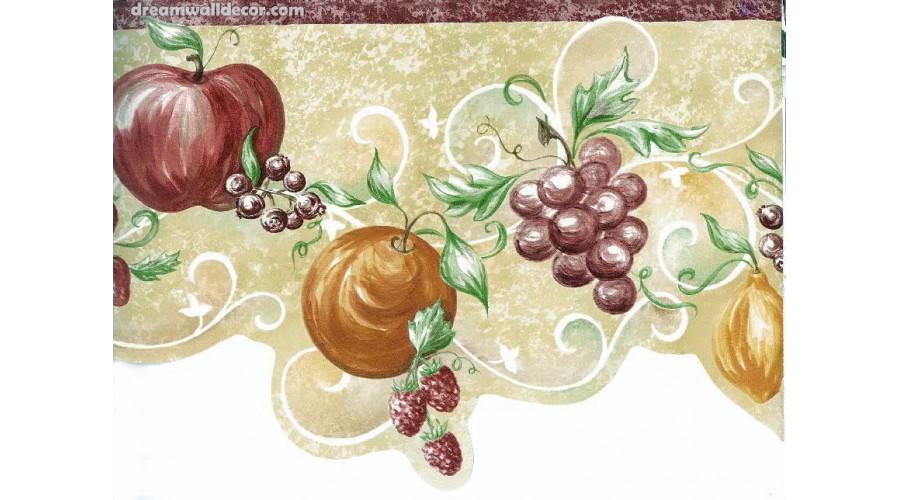 Home Orange Apple Grape Wallpaper Border 900x500