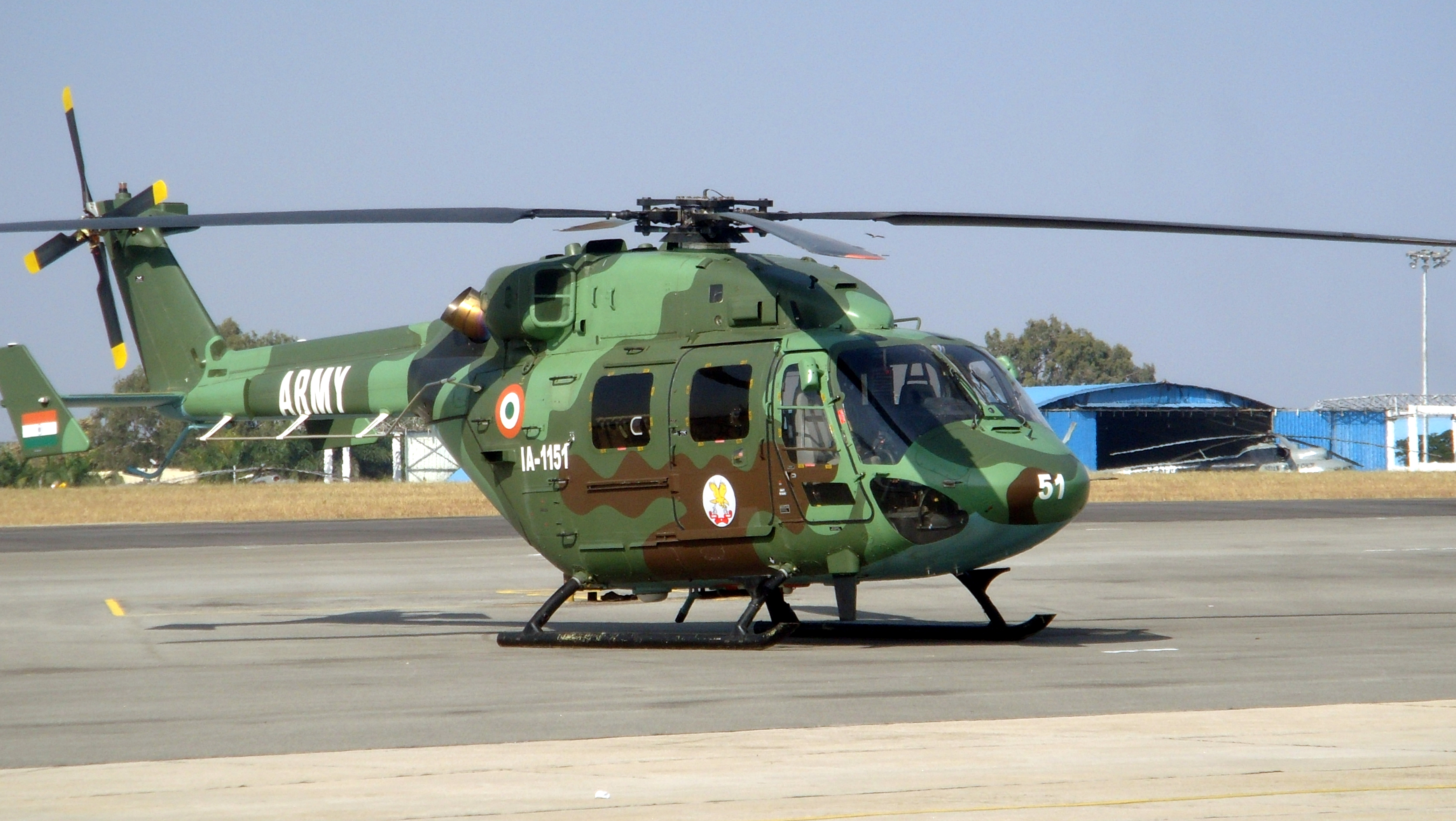 FileIndian Army Dhruv Helicopter at Aero India 2013JPG   Wikimedia 3648x2056