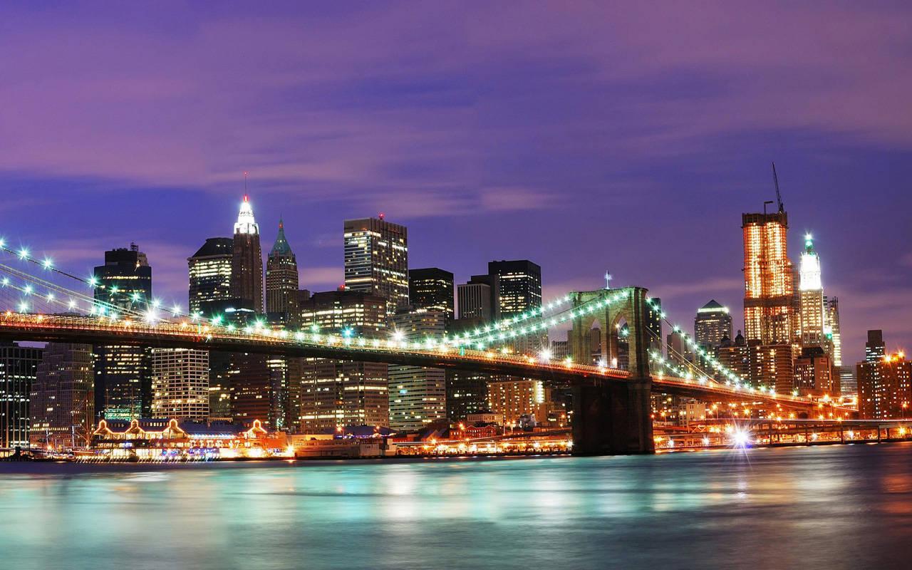 New York City light bridge at night wallpaper city wallpaper 1280x800