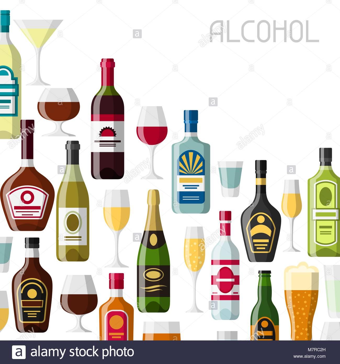 Alcohol drinks background design Bottles glasses for restaurants 1300x1390