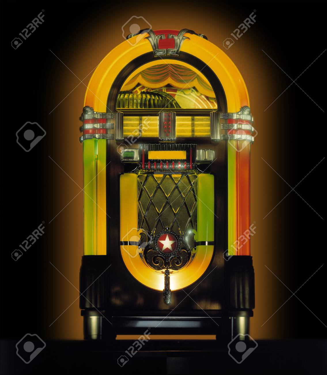 Jukebox In Studio Against Black Background Stock Photo Picture 1135x1300