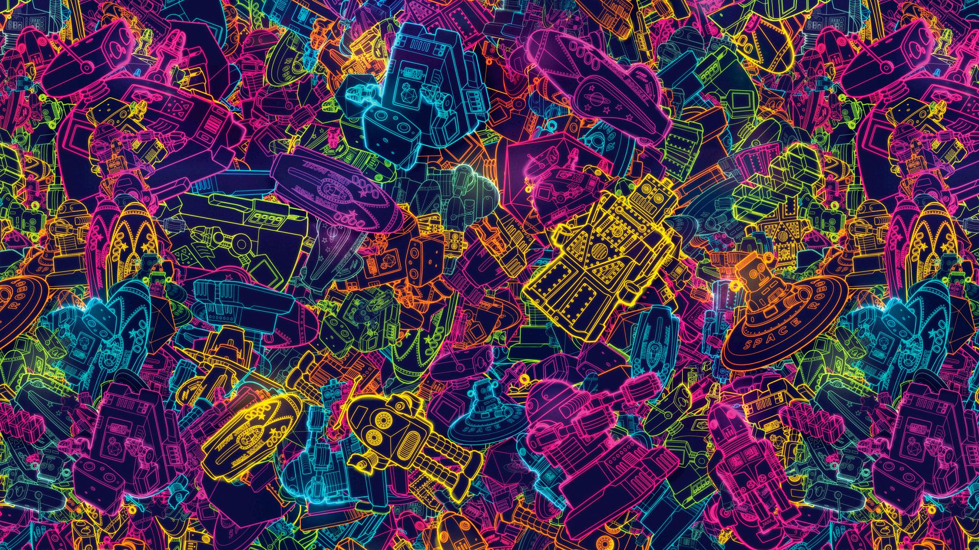 Retro Robot Wallpaper Backgrounds 1920x1080