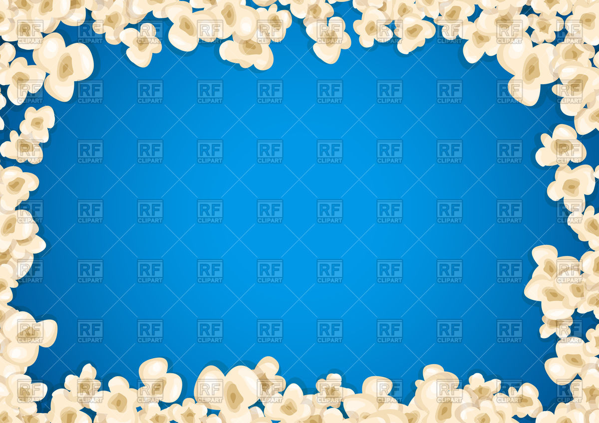 Heap popcorn frame on blue background Vector Image of Borders and 1200x848