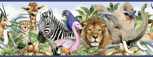 Wild Animal Wallpaper Border Jungle animals border   wall 600x225