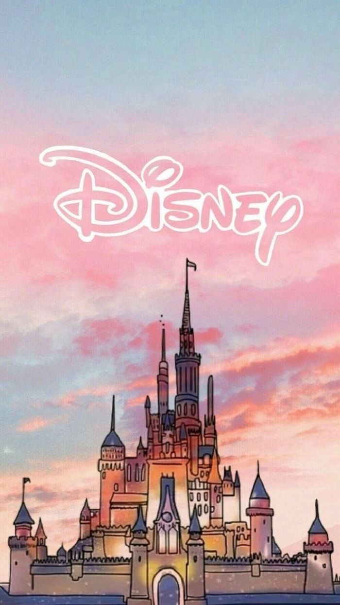 disney castle drawing pink and blue sky cute phone wallpapers 700x1244