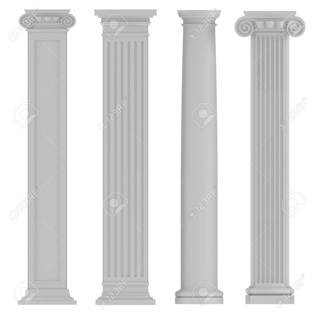 Architectural Classic Columns At The White Background Stock Photo 1300x1300