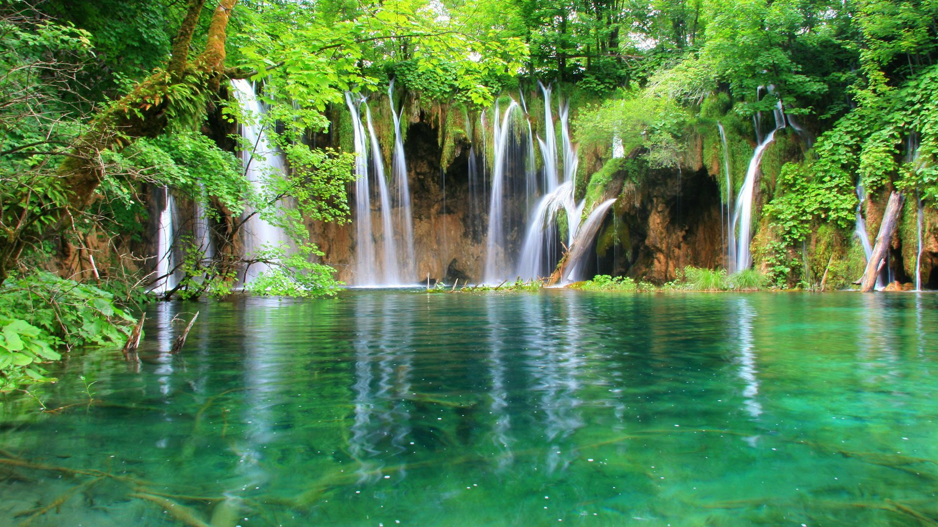 Plitvice Lakes National Park Croatia Wallpaper PNG Transparent 1920x1080