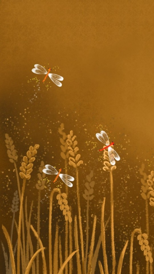 Cartoon Dragonflies Illustration Wallpaper   iPhone Wallpapers 540x960