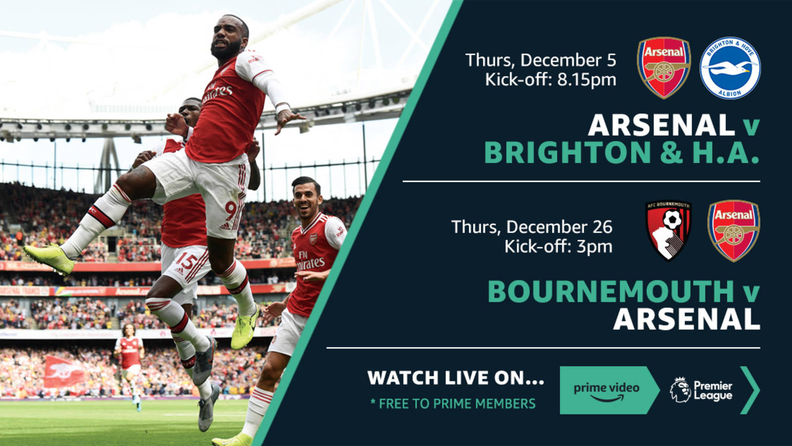 Arsenal games live on Amazon Prime Video Partner promotion 1600x900