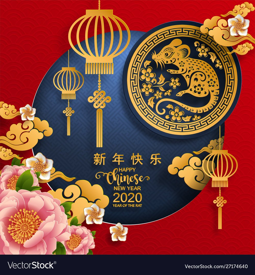 Happy chinese new year 2020 year rat Royalty Vector 1000x1080