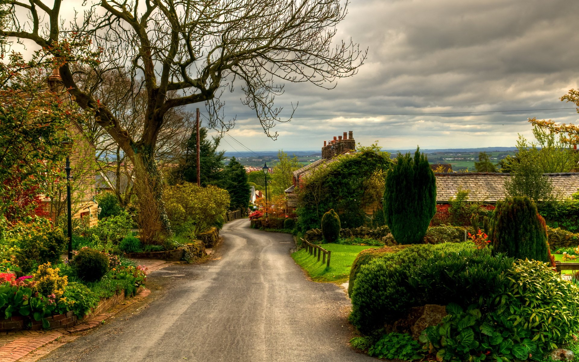 UK Road England Horwich Trees Shrubs nature landscapes town village 1920x1200