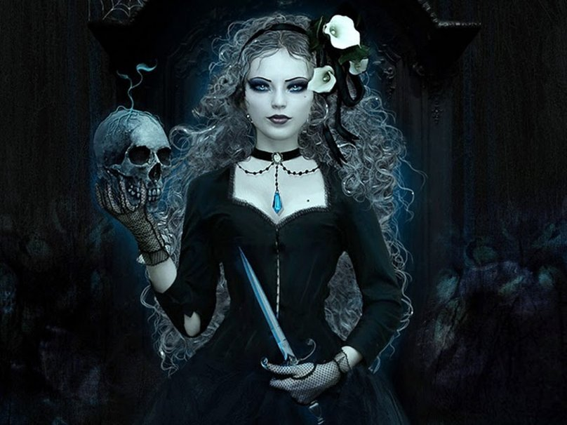 DARK WICCA WITH SKULL Dark Witch wallpaper   ForWallpapercom 808x606