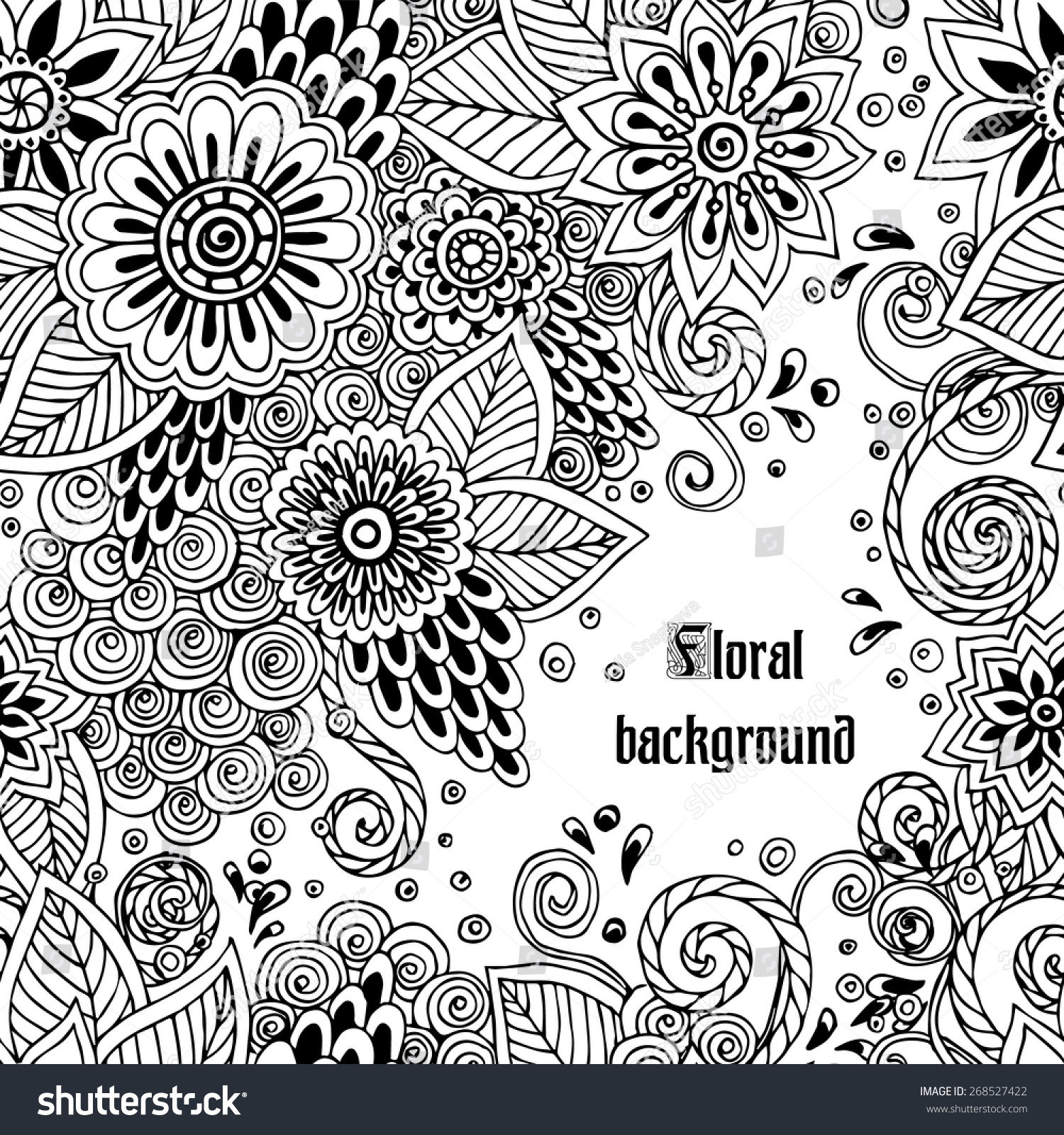 Ornate Floral Pattern Flowersdoodle Sharpie Floral Stock Vector 1500x1600