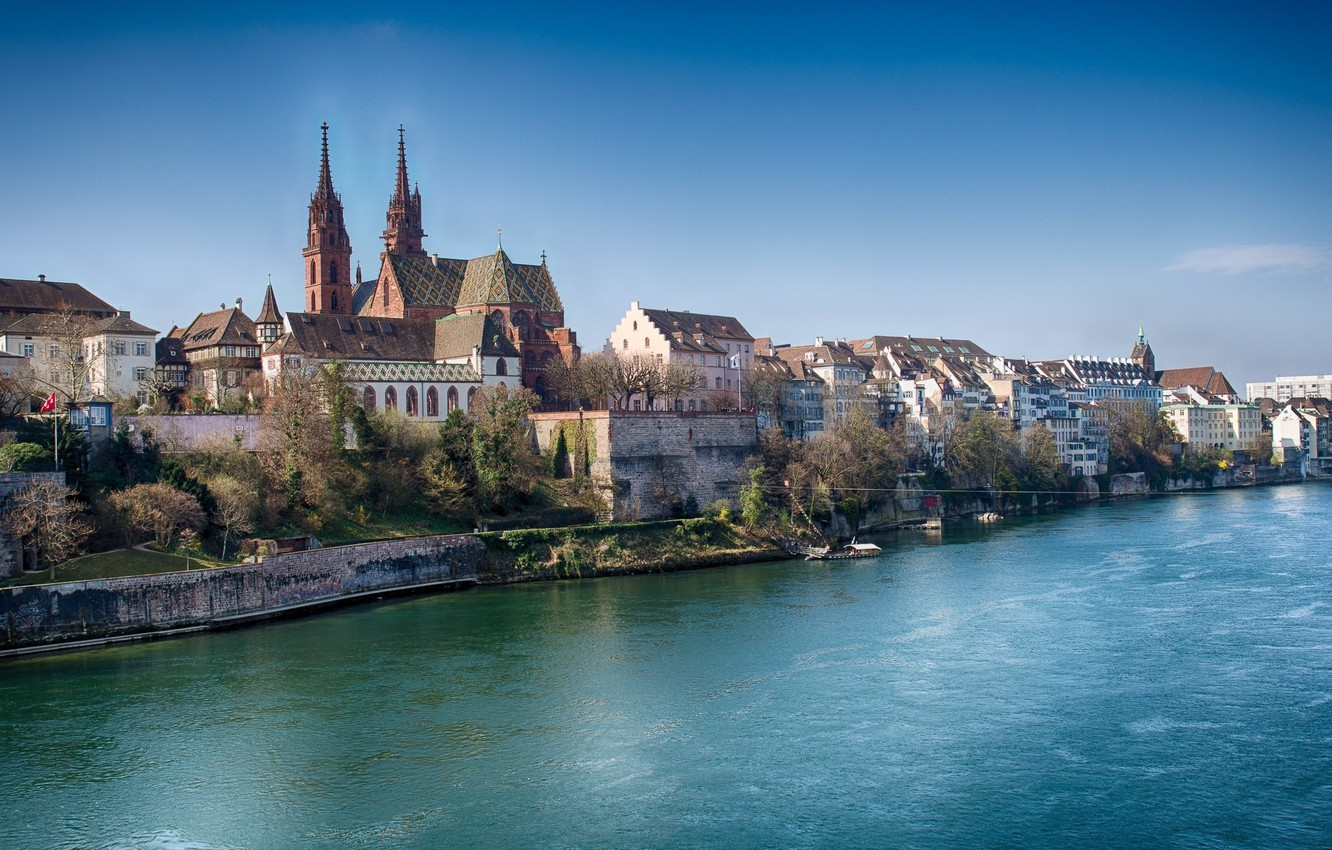 Wallpaper river home Switzerland Rhine Basel images for 1332x850