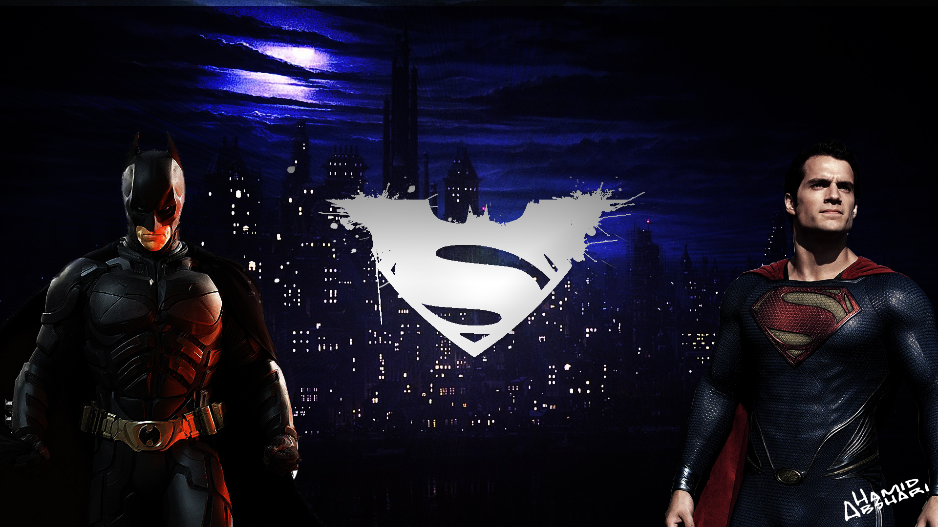 batman vs superman wallpaper by hamidabshari fan art wallpaper movies 1920x1080