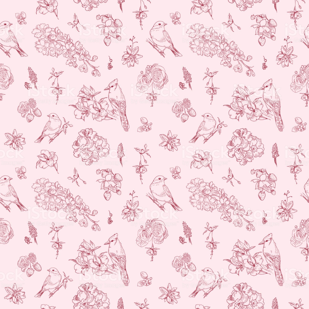 Pattern With Floral Ornament Toile De Jouy Seamless Background 1024x1024