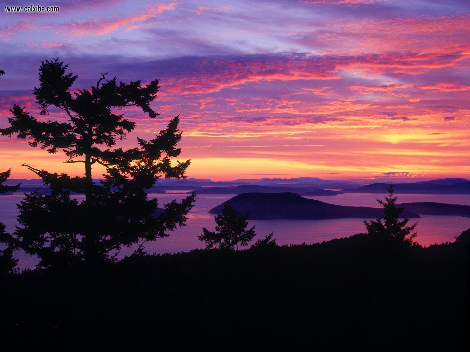 Nature San Juan Islands At Sunset Puget Sound Washington picture nr 1600x1200