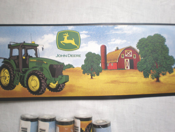 Rolls John Deere Tractor Wallpaper Border by TextilesandThings 570x428