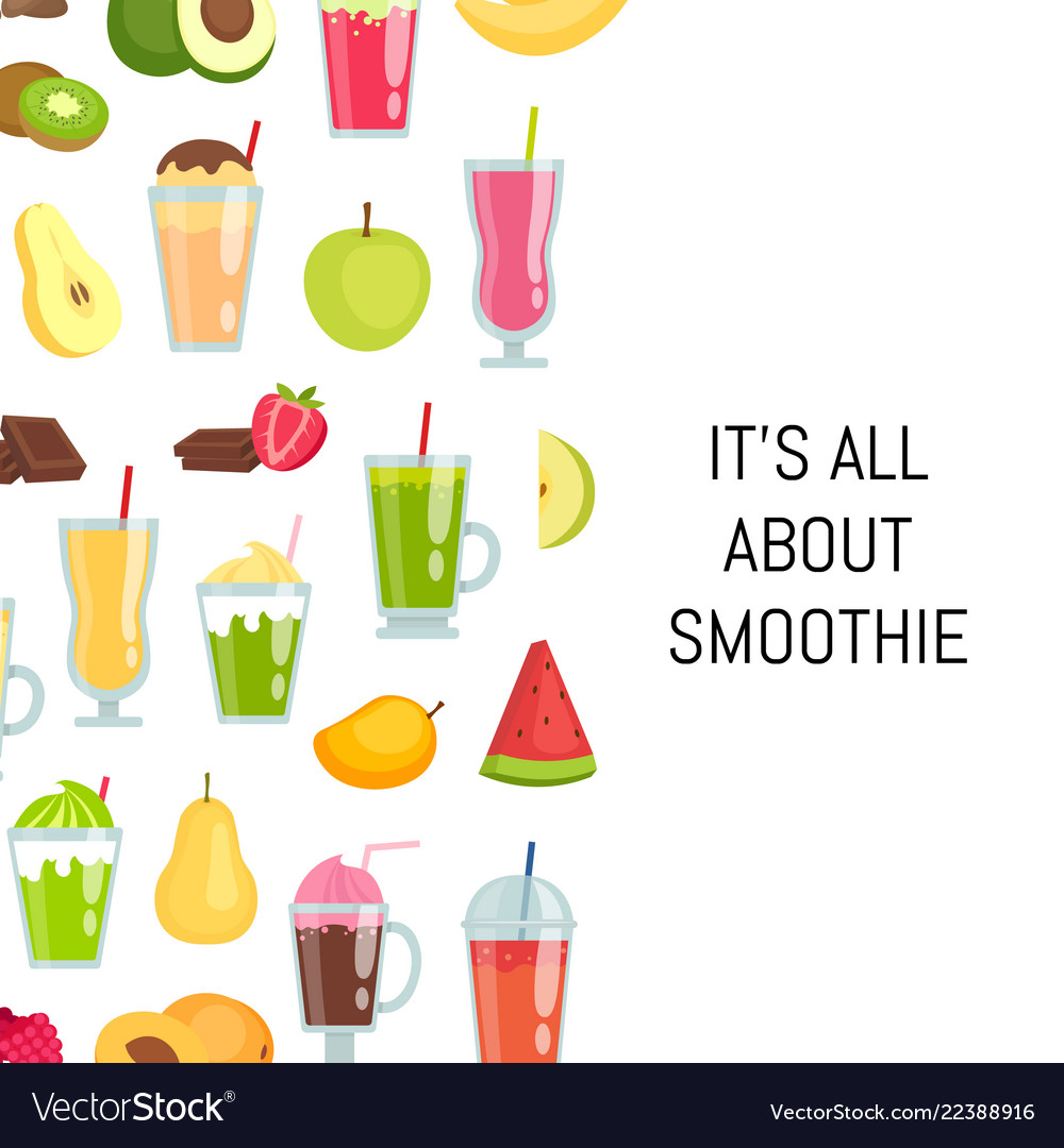 Flat smoothie elements background with Royalty Vector 1000x1080